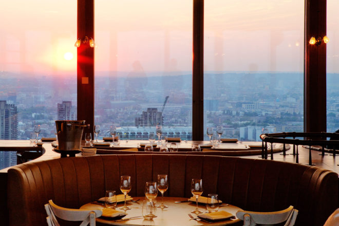 Duck and Waffle restaurant, London.