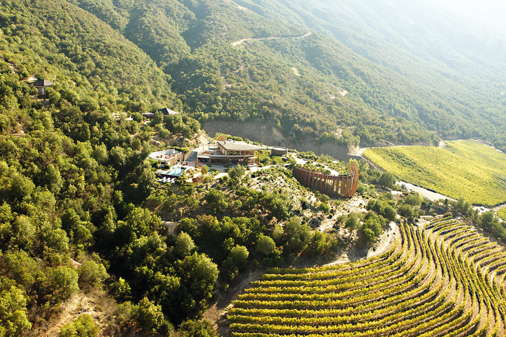 The verdant landscape of Colchagua Valley in Chile - home to the Lapostolle Residence.