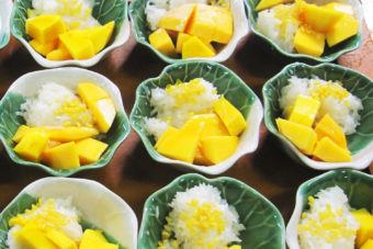 Sticky rice with mango - made at Bangkok's Helping Hands Thai Cooking School in the middle of Klong Toey slum.
