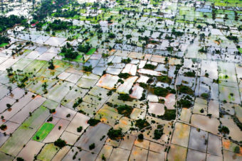The scenic countryside near Siem Reap, Cambodia, from the air.