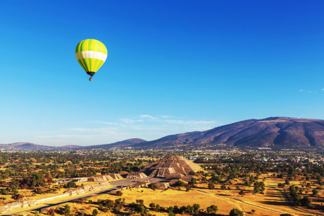 Hot air balloons above Teotihuacán, Mexico.