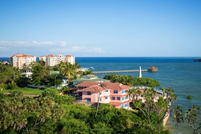 Mombasa city coastline in Kenya.