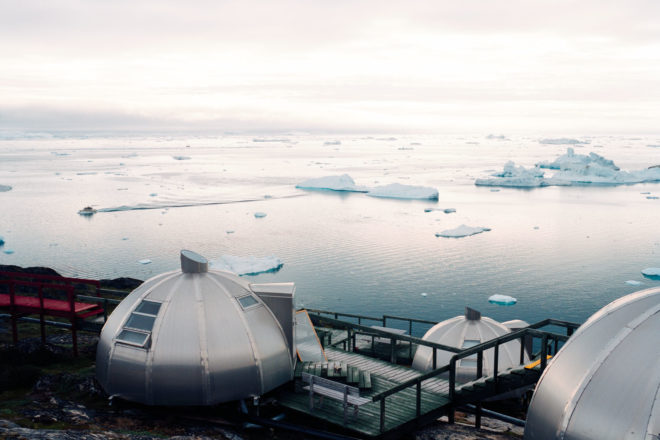 Arctic Hotel overlooking Ilulissat Icefjord in Greenland.