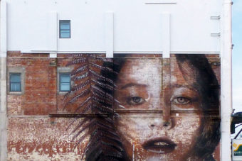 Mural by street artist Rone, in Christchurch, New Zealand.