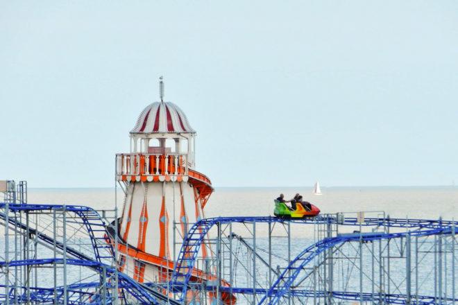 Clacton Pier's outdoor amusement Park in Essex