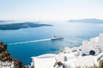The picturesque waters of Santorini, Greece