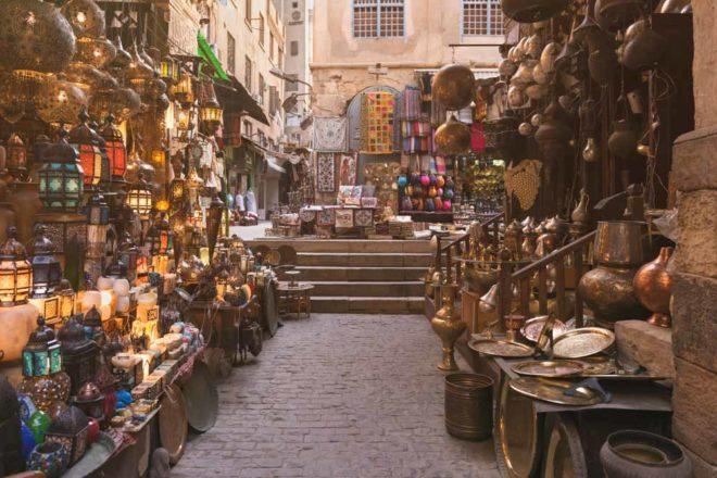 Khan el-Khalili Souk is a major market in Cairo, Egypt