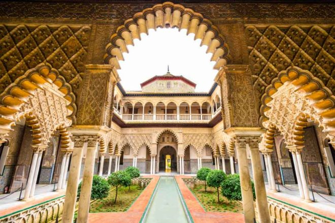 Courtyard, Maidens in the Alcázar of Seville, Spain