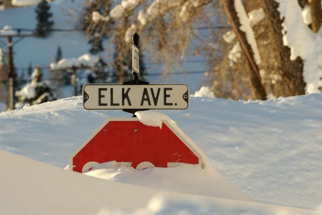 Aspen Colorado deep snow in town